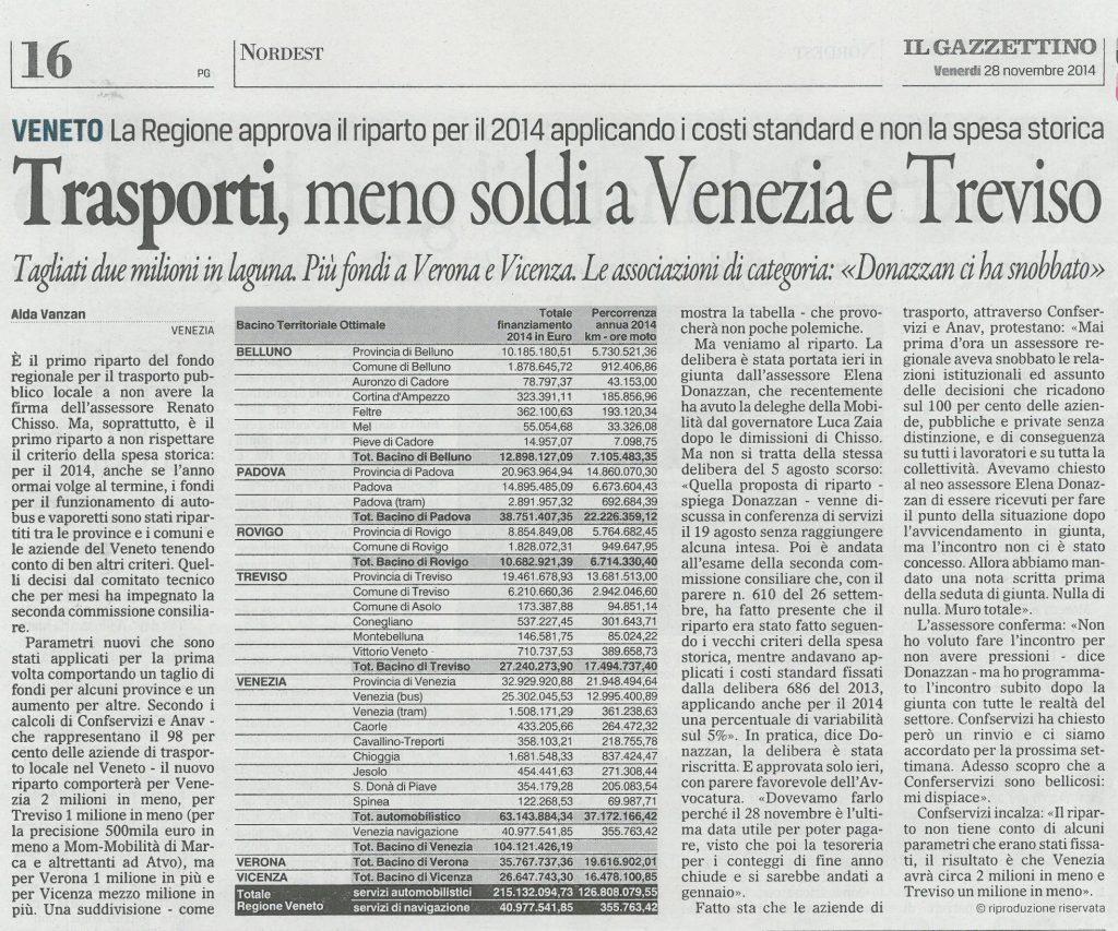 Il Gazzettino - 28/11/2014 - Trasporti, meno soldi a Venezia e Treviso